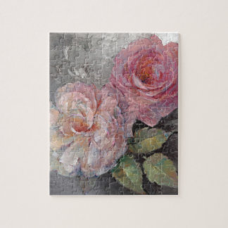 Roses on Gray Jigsaw Puzzle