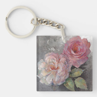 Roses on Gray Keychain
