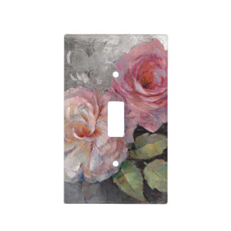 Roses on Gray Light Switch Cover