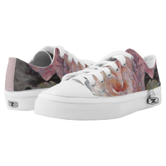 Roses on Gray Low-Top Sneakers
