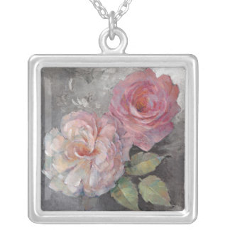 Roses on Gray Silver Plated Necklace