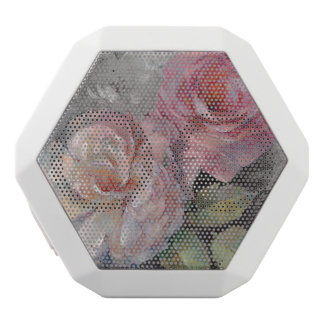 Roses on Gray White Bluetooth Speaker