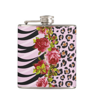 Roses on Leopard Print and Zebra Stripes on Pink Hip Flask