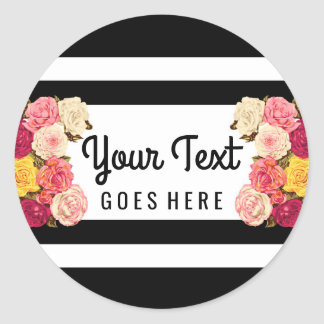 Roses on Modern Black & White Stripes Chic Florist Classic Round Sticker