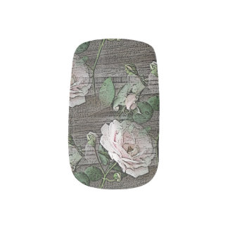 Roses on Weathered Wood Fingernail Decals
