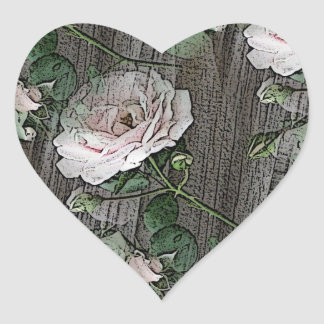 Roses on Weathered Wood Heart Sticker