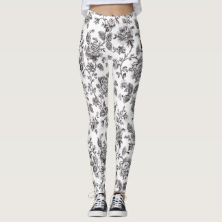 Roses on  White Ground Leggings