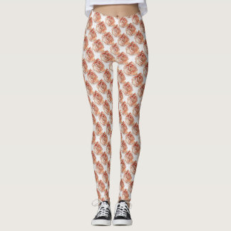 Roses on White Pattern Leggings