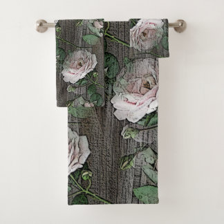 Roses on Wood Bath Towel Set