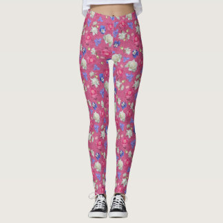 Roses, Pansies and More over Pink Leggings