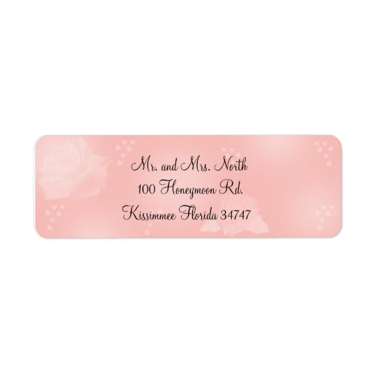 Roses Peach Return Address Label