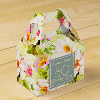 Roses Peonies 80th Birthday Thank You Favor Box