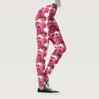 Roses, Pink Red Rose Logo, Ladies Leggings