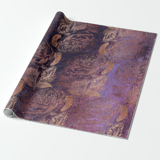 Roses Pink Rose Gold Metallic Floral Burgundy Plum Wrapping Paper