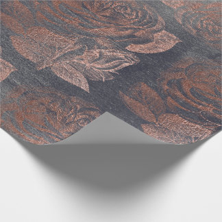 Roses Pink Rose Gold Metallic Floral Cement Gray Wrapping Paper
