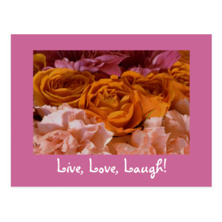 Roses Postcard - Live, Love, Laugh