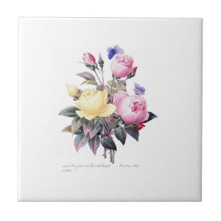 Roses Redoute Belle Fleurs White Ceramic Tile