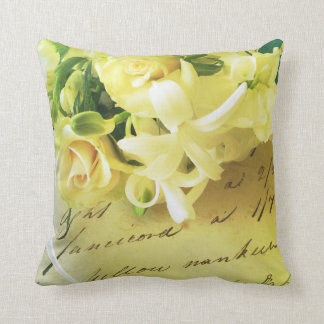 Roses, ribbon, old handwriting pillow