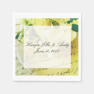 Roses, ribbon, old handwriting with text area disposable napkins