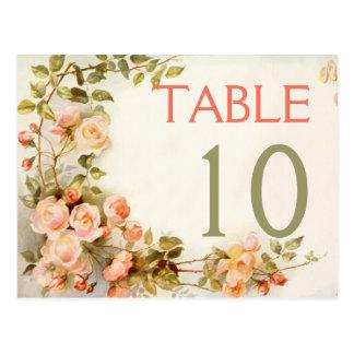 Roses romantiques vintages épousant le nombre de cartes postales