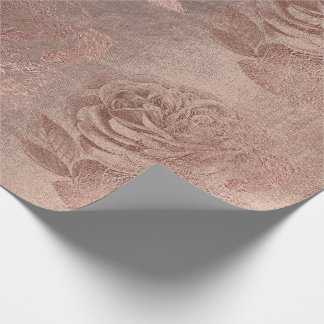 Roses Rose Gold Pastel Metallic Floral Blush Wrapping Paper