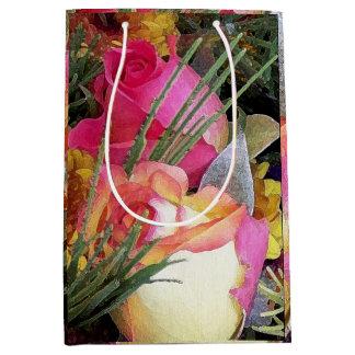 Roses Rosebuds Mums Flowers Floral Garden Medium Gift Bag
