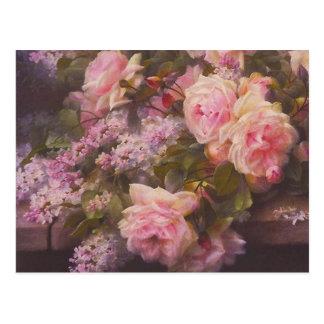 Roses roses victoriens vintages et carte postale d