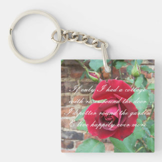 Roses round the door poem Double-Sided square acrylic keychain