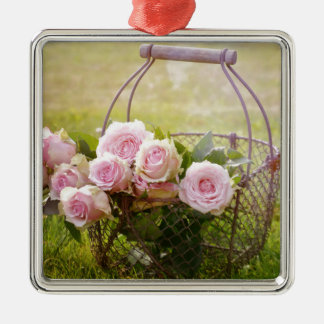 roses Silver-Colored square ornament