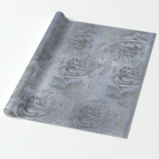 Roses  Silver Gray Floral Blue Pastel Velvet Wrapping Paper