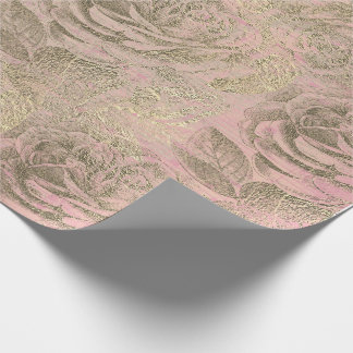 Roses Silver Gray Floral Rose Foxier Gold Pink Wrapping Paper
