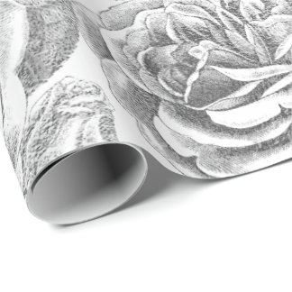 Roses Silver Gray Floral White Delicate Vintage Wrapping Paper