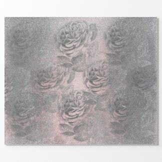 Roses Silver Gray Metallic Floral Pink Pastel Chic