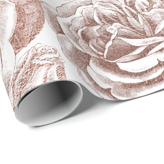 Roses Silver Grey Floral White Rose Gold Blush Wrapping Paper