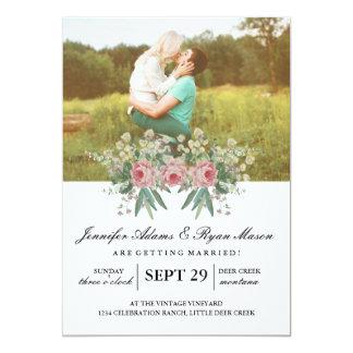 Roses simples de mariage de photo carton d'invitation  12,7 cm x 17,78 cm