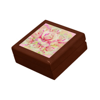 "Roses Square w/4.25"" Tile Gift Box, Golden Oak Gift Box"