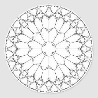 Roses Stained Glass Classic Round Sticker