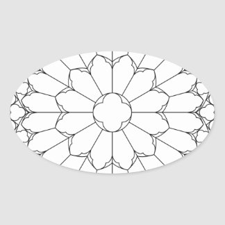 Roses Stained Glass Oval Sticker