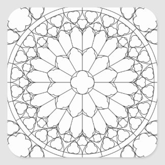 Roses Stained Glass Square Sticker