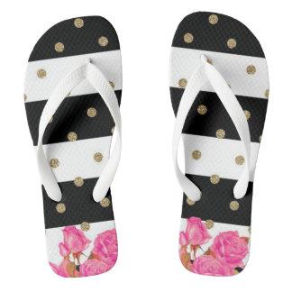 Roses, Stripes and Polka Dots Flip Flops