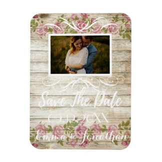 Roses Template Save the Date white script Magnet