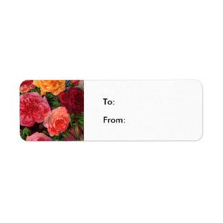 Roses vibrants étiquette d'adresse retour