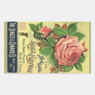 Roses vintages d héritage d autocollant annonçant