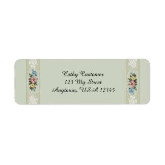 Roses vintages élégants étiquettes d'adresse retour