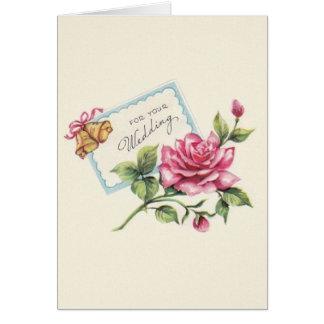 Roses vintages et carte de mariage de Bells
