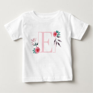 Roses Watercolor Floral Letter E - Initial Name Baby T-Shirt