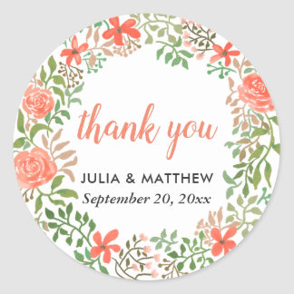 Roses Watercolor Floral Wreath Thank You Wedding Classic Round Sticker