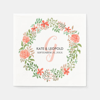 Roses Watercolor Floral Wreath | Wedding Monogram Disposable Napkin
