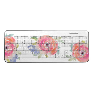 Roses Watercolor Wireless Keyboard