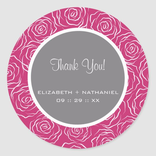 Roses Wedding Thank You Favour Stickers -hot pink
